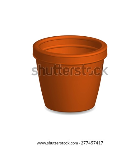 Illustration of flower pot,vector isolated on white background.