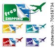 illustration of free shipping tags on isolated white background - stock vector
