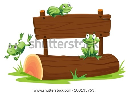 Illustration of frogs with sign
