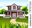 illustration of front view of house in natural background - stock vector
