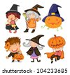 Illustration of halloween objects - stock vector