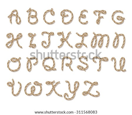 Old Rope Hand Drawn Alphabet Letters Stock Vector