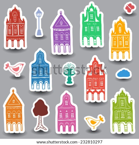 Illustration of hand drawn colored houses on white background