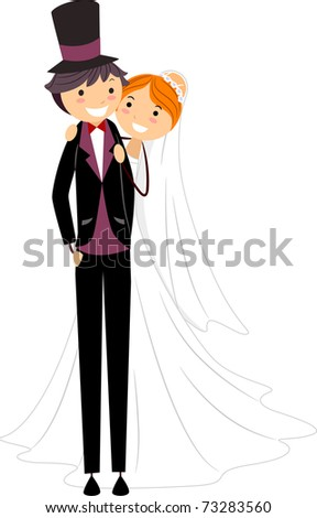 Illustration of Happy Newlyweds Posing for the Camera