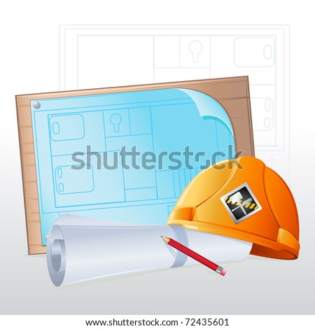 illustration of hard hat with blue print and pencil