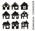 Illustration of home icons, house silhouettes on white background, vector illustration - stock vector