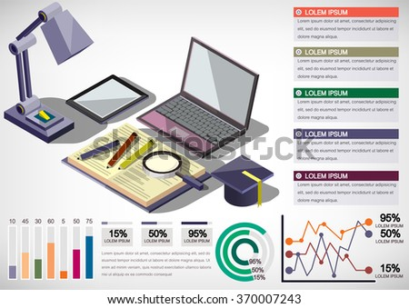 illustration of infographic education concept in isometric graphic
