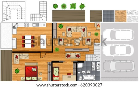 Illustration Of Interior Icons Top View Furniture Design Vector