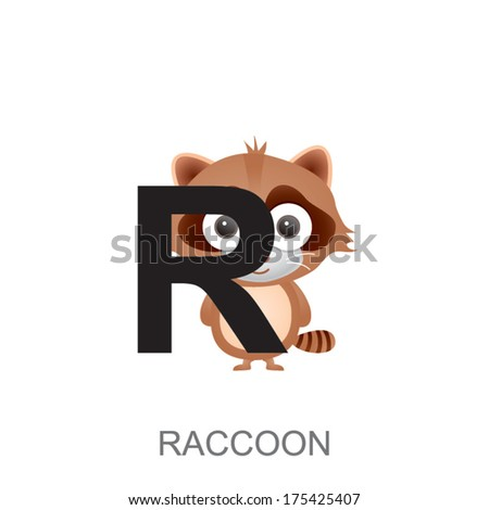 r is for raccoon  ... animal alphabet. R is