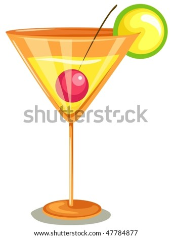 illustration of isolated cocktail on white background