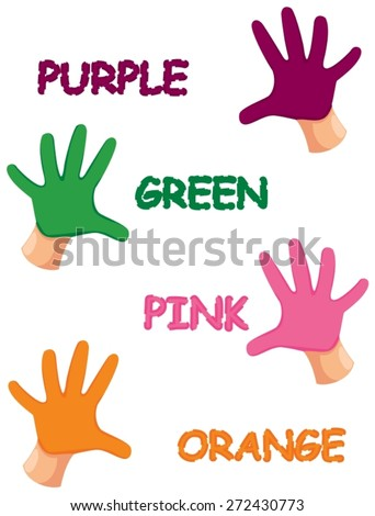 illustration of isolated hands colors with letters