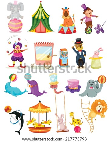 illustration of isolated set of circus on white