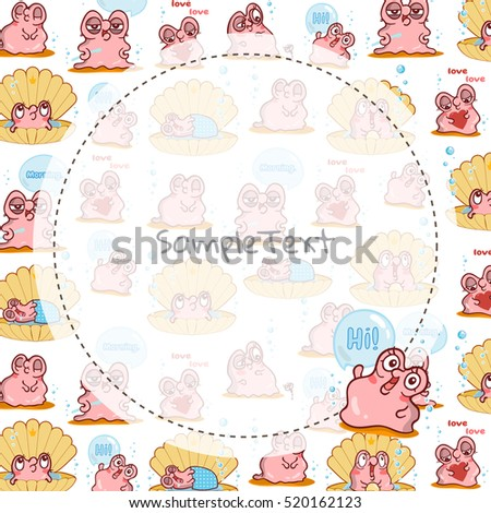 Illustration of kawaii pearl oyster. Vector cartoon background in cute style. Round frame and place for text or photo. Template for greeting card, childish frame