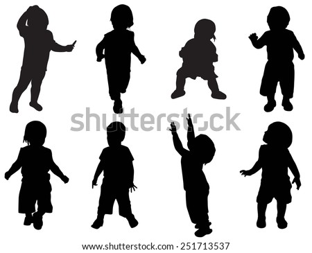 Illustration of kids silhouettes
