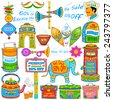 illustration of kitsch art of India showing sale and promotion - stock photo