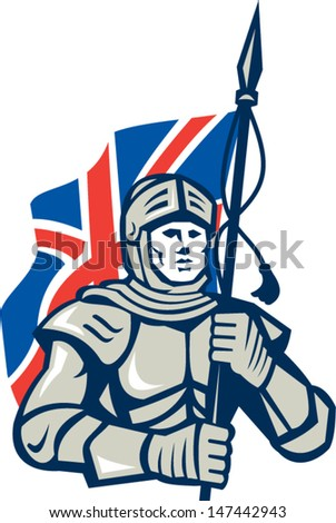 Illustration of knight in full armor with British Union Jack flag facing front done in retro style on isolated white background.