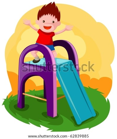illustration of little boy playing on the slide