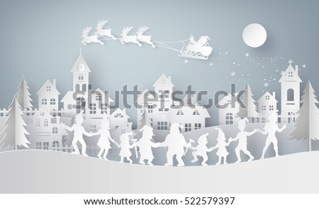 Illustration of  merry christmas and happy new year,Claus on the sky coming to City  with  family dance around .Design and produce by vector of paper art and craft style