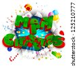 illustration of Merry Christmas text with christmas goodies coming out from torn paper - stock vector