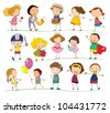 Illustration of mixed simple kids - stock vector