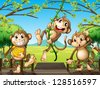 Illustration of monkeys at the wooden bridge - stock vector