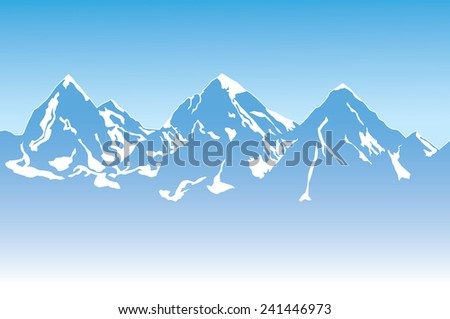 Illustration of Mountain Landscape with Snow. Vector illustration.