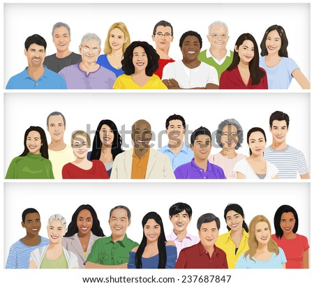Illustration of Multiethnic People in a Row