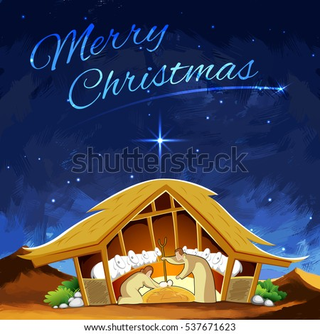 illustration of nativity scene showing birth of Jesus on Christmas