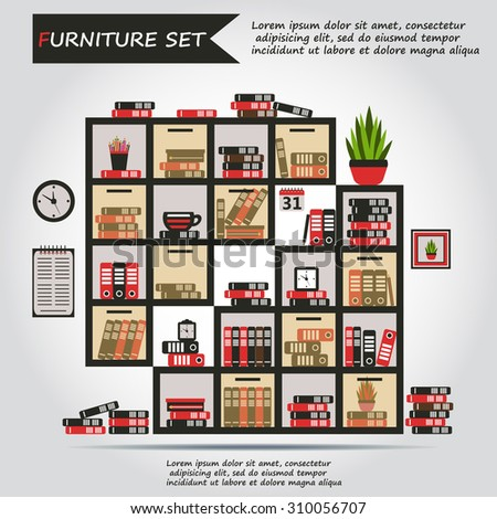 Illustration Of Office Furniture Interior Case Box With Books Folders Plant