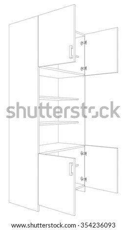 Illustration of open cabinet on white background, vector illustration