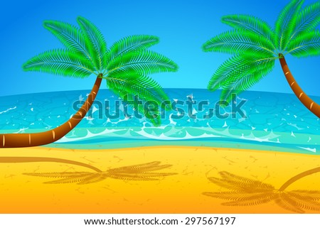 illustration of palm trees on the beach with the sea
