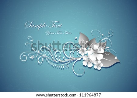 illustration of paper cut retro floral background