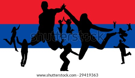 Illustration of people jumping and flag