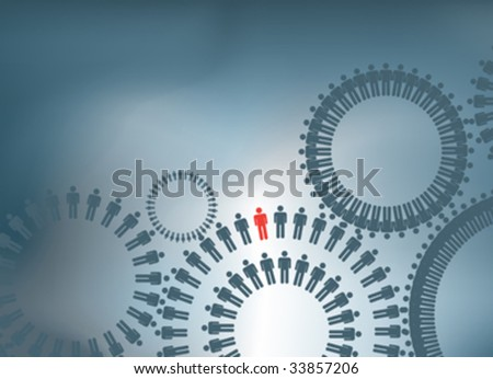 ILLUSTRATION OF PEOPLE TO SHOW TERAMWORK FORMING COGS