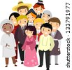 Illustration of People with Different Nationalities wearing their National Costumes - stock