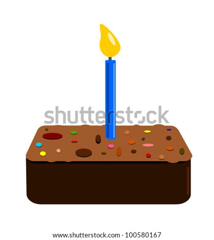 illustration of piece of chocolate cake with sprinkles and lit candle