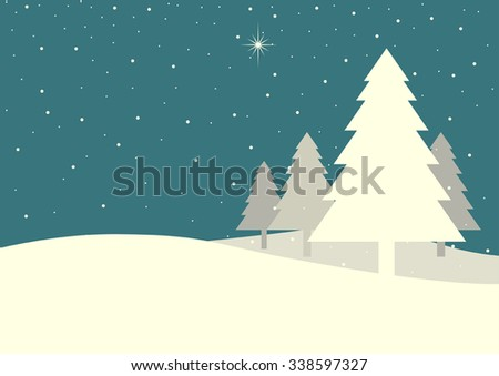 Illustration of pine trees on snowy hills in vintage colour
