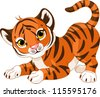 Illustration of playful tiger cub - stock vector
