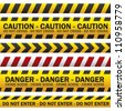 illustration of police security tapes, yellow with black and red, vector illustration - stock vector