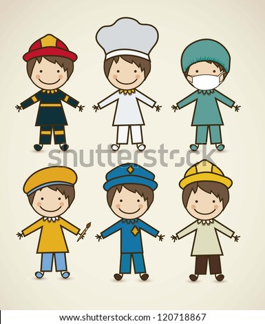 Illustration of professions police icon doctor firefighter chef