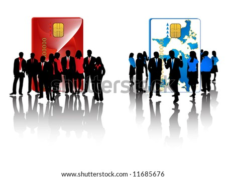 Illustration of red and blue business teams