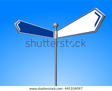 Illustration of  road sign. The direction of two roads.