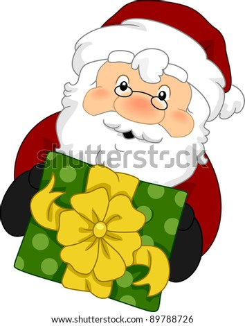 Illustration of Santa Claus Holding a Gift