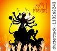 illustration of sculpture of goddess Durga killing Mahishasura - stock vector