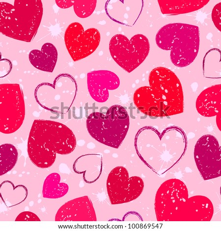 Illustration of seamless with abstract grunge hearts