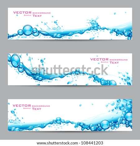 illustration of set of banner with water splash