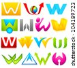 illustration of set of different colorful logo icon for alphabet W - stock photo