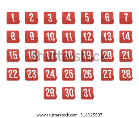 Illustration of Set of Photorealistic Vector Calendar Icons from First to 31st. Every day of Month Calendar.