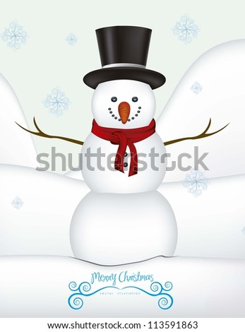 illustration of snowman, on a background of snow and snowflakes, vector illustration