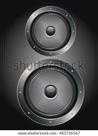 Illustration of sound loud speaker in metal frame rivets, bolts.
